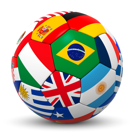 germany: Colorful Soccer Ball with International Flags and World Champions in Focus - Brazilian, Argentina, Germany, Spain, France, England, Italy, Uruguay - 3D Rendering with White Background