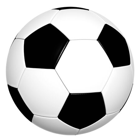 play ground: Classical Black and White 3D Soccer Ball isolated on White Background - Without Shadow on the Ground Stock Photo
