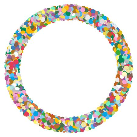 point: Colourful Round Abstract Frame with Free Text Area - Formed of Confetti - Dots, Polka Dots, Points - Party Template with Empty Space for Advertising and Text