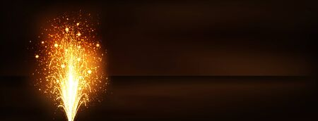 caustic: Golden Fountain - Firework Volcano Emitting Sparks. Panorama Banner on Dark Brown Background - New Years Eve Celebration. Little Fireworks, Pyro, Glistening, Particle Effect. Stock Photo