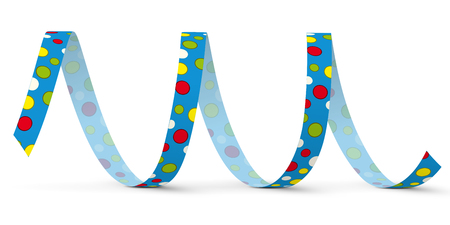 Blue Vector Paper Streamer with Colored Dots lying on the White Floor - Isolated on White Background - Blow Out