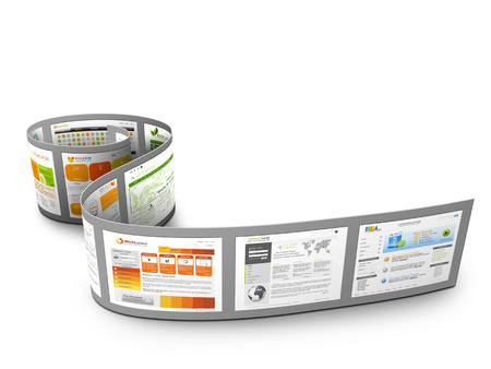 strip design: Abstract Rolled 3D Film Strip with Web Design Template Images