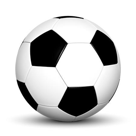 Klassische Schwarzweiss-3D Fußball-Ball auf weißem Hintergrund und glatte Schatten auf den Boden