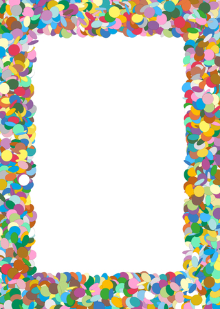 childrens birthday party: Abstract Colorful Rectangular Vector Confetti Frame with Free Space for Advertising and Text - Backdrop Template Border - Text Field, White Area - Dots, Points - Particle Design Stock Photo