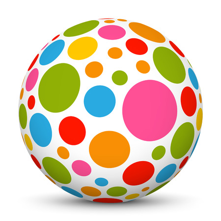 cheerfully: 3D White Sphere with Dotted Texture on White Background and Smooth Shadow - Graphic Illustration Stock Photo