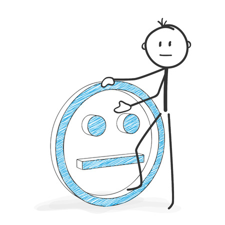 Stick Figure in Action - Stickman with a Neutral Smiley Icon. Stick Man Vector Drawing with White Background and Transparent, Abstract Three Colored Shadow on the Ground.