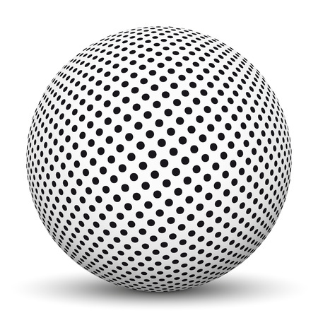 smooth shadow: White 3D Sphere with Dotted Texture on White Background and Smooth Shadow Stock Photo