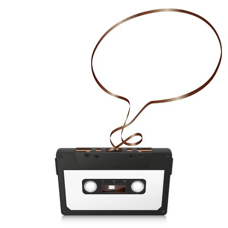 analogous: Audio Cassette with Abstract Curved Tape - Speech Bubble Silhouette - on White Background - Vector Illustration