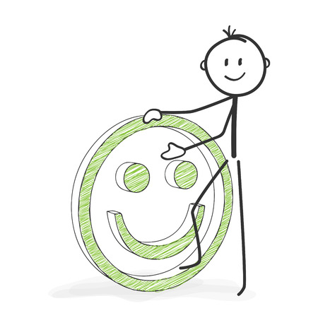 Stick Figure in Action - Stickman with a Positive Smiley Icon. Stick Man Vector Drawing with White Background and Transparent, Abstract Three Colored Shadow on the Ground. Banque d'images