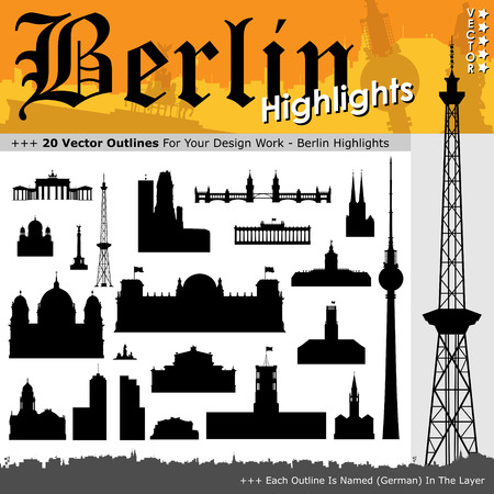 highlight: 20 Berlin Highlights - Building Outline Set - Black Silhouettes with Real Size Proportion - Vector Illustration