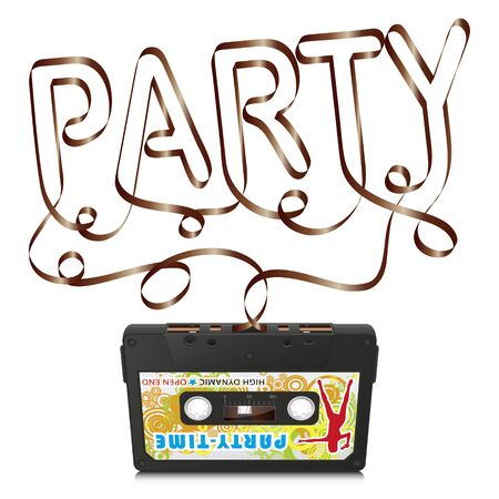 analogous: Audio Cassette with Abstract Curved Tape - Party Text Silhouette - on White Background - Vector Illustration
