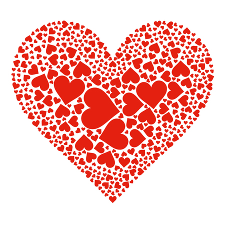 white heart: Abstract Arranged Red Heart Shapes on White Background - 2D Illustration