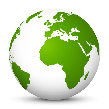 White Vector Globe Icon with Green Continents - Planet Earth - World Symbol on White Background with Smooth Shadow - Apple Green Healthy World. Ecology Vector Illustration Icon, Symbol - ECO Archivio Fotografico