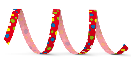 blow out: Red Vector Paper Streamer with Colored Dots lying on the White Floor - Isolated on White Background - Blow Out
