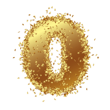 Abstract Golden Number with Starlet Border - Zero - Null - - Birthday, Party, New Years Eve, Jubilee - Number, Figure, Digit - Graphic Illustration Isolated on White Background