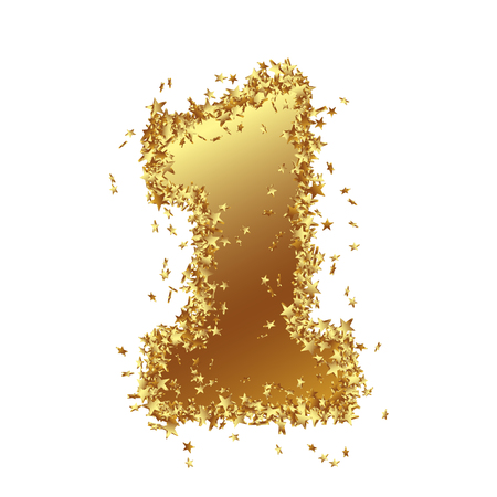 Abstract Golden Number with Starlet Border - One - 1 - Birthday, Party, New Years Eve, Jubilee - Number, Figure, Digit - Graphic Illustration Isolated on White Background