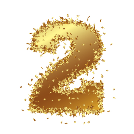 Abstract Golden Number with Starlet Border - Two - 2 - Birthday, Party, New Years Eve, Jubilee - Number, Figure, Digit - Graphic Illustration Isolated on White Background