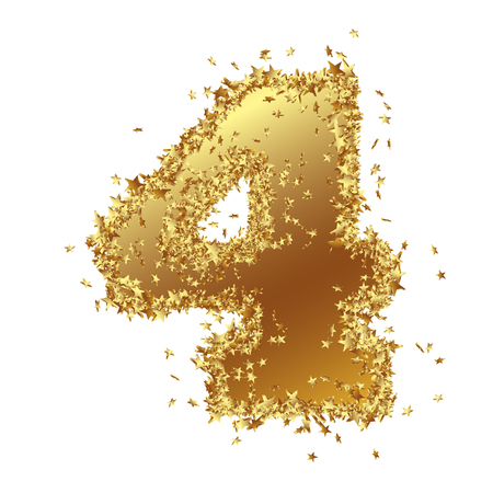 Abstract Golden Number with Starlet Border - Four - 4 - Birthday, Party, New Years Eve, Jubilee - Number, Figure, Digit - Graphic Illustration Isolated on White Background