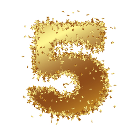 Abstract Golden Number with Starlet Border - Five - 5 - Birthday, Party, New Years Eve, Jubilee - Number, Figure, Digit - Graphic Illustration Isolated on White Background