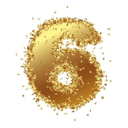 Abstract Golden Number with Starlet Border - Six - 6 - Birthday, Party, New Years Eve, Jubilee - Number, Figure, Digit - Graphic Illustration Isolated on White Background