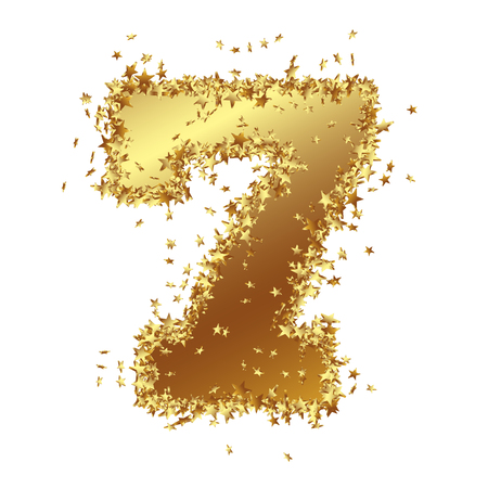 Abstract Golden Number with Starlet Border - Seven - 7 - Birthday, Party, New Years Eve, Jubilee - Number, Figure, Digit - Graphic Illustration Isolated on White Background