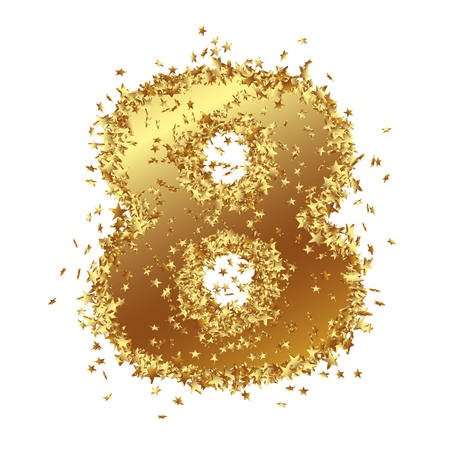 Abstract Golden Number with Starlet Border - Eight - 8 - Birthday, Party, New Years Eve, Jubilee - Number, Figure, Digit - Graphic Illustration Isolated on White Background