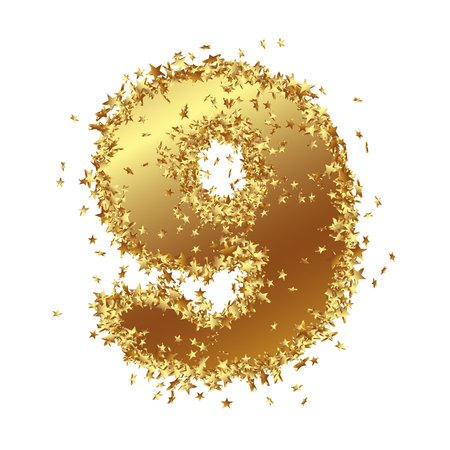 Abstract Golden Number with Starlet Border - Nine - 9 - Birthday, Party, New Years Eve, Jubilee - Number, Figure, Digit - Graphic Illustration Isolated on White Background