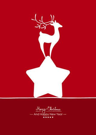 Merry Christmas - Simple Red Vector Greeting and Christmas Card Template with Shapes - Handwritten Greeting Text - Seasonal New Years Eve Background - XMas, X-Mas. Abstract Fawn on White Star - Deer