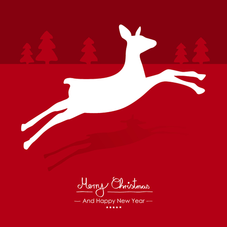 Merry Christmas Simple Red Vector Greeting And Christmas Card