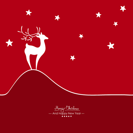 Merry Christmas - Simple Red Vector Greeting and Christmas Card Template with Shapes - Handwritten Greetings - Seasonal New Years Eve Background - XMas, X-Mas. Abstract Fawn on Hill. Starlets on Sky