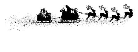 Streszczenie latający Mikołaj z saniami reniferów i ilustracji wektorowych przyczepy - czarny kształt - sylwetka ze śniegiem i ogonem Starlet. Panorama - baner z białym tłem. Symbol na białym tle X-Mas.