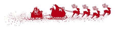 Abstract Flying Santa Claus with Reindeer Sled and Trailer Vector Illustration - Red Shape - Silhouette with Snow and Starlet Tail. Panorama - Banner with White Background. Isolated X-Mas Symbol. Illustration