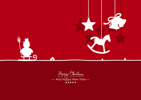 Merry Christmas - Simple Red Vector Greeting and Christmas Card Template with Shapes - Handwritten Greeting Text - Seasonal New Years Eve Background - X-Mas. Snowman, Rocking Horse and Bell Symbols