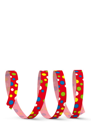 Red Vector Paper Streamer with Colored Dots lying on the White Floor - Isolated on White Background - Blow Out - With Free Space for Your Own Advertising Text