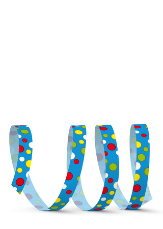 Blue Vector Paper Streamer with Colored Dots lying on the White Floor - Isolated on White Background - Blow Out - With Free Space for Your Own Advertising Text