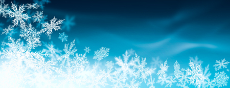 Beautiful Abstract Azure Blue Background with Ornate Snowflakes - Panorama Greeting Card Backdrop Banner with Snow and Colour Gradient