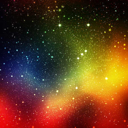 Abstract Cosmos, Universe Background Illustration with Orion Constellation and Starry Orbit - Star Field Sky - Colorful Rainbow Gradient Backdrop Graphic - Nebular Galaxy Night Sky.