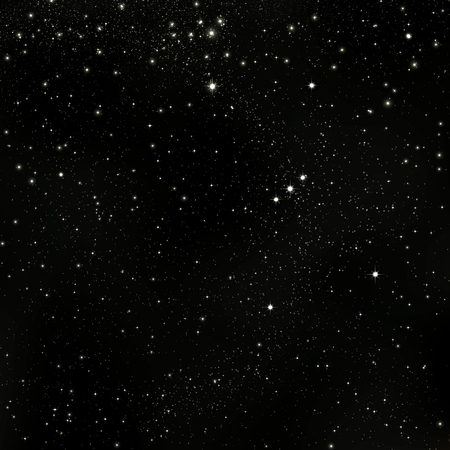 Black Abstract Cosmos, Universe Background Illustration with Orion Constellation and Starry Orbit - Infinity Star Field Sky - Graphic Backdrop - Dark Sky.