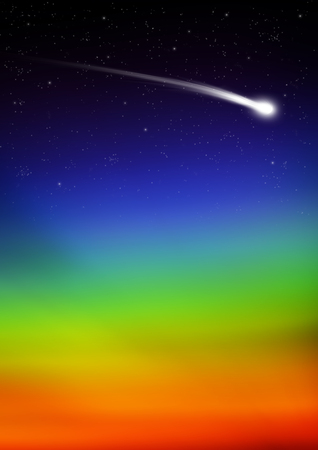 Falling Star Trail with Rainbow Color Gradient - Starry Sky Background - Comet Tail - Star Spangled Backdrop. Astronomy - Meteor, Halleys Comet, Asteroid. Greeting Card Template - Good Luck -