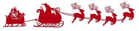 Abstrakter fliegender Weihnachtsmann mit Rentierschlitten und Anhänger mit Geschenken - Vektorillustration - rote Form - Panorama - Fahne mit weißem Hintergrund. Isoliertes X-Mas-Symbol, Symbol - Weihnachtszeit Vektorgrafik