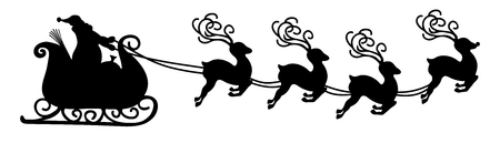 Abstract Flying Santa Claus with Reindeer Sled - Vector Illustration - Black Shape - Panorama - Banner with White Background. Isolated X-Mas Symbol, Icon - Christmas Season - Jumping Fawn Illustration