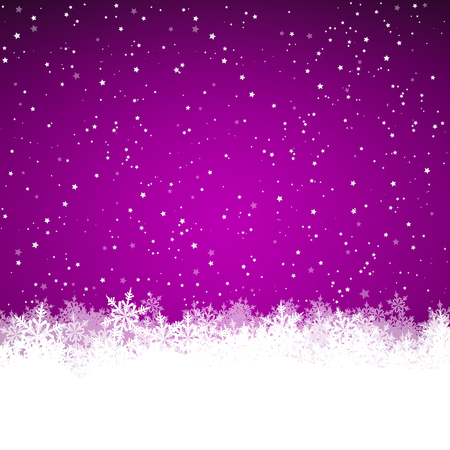 Background Illustration with Starry Sky and Abstract Snowflakes on the Ground