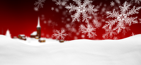 Abstract Red Background Panorama Winter Landscape with Falling Filigree Snowflakes. Snowy Ground with Fresh Snow.