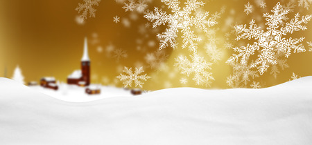 Abstract Golden Background Panorama Winter Landscape with Falling Filigree Snowflakes. Snowy Ground with Fresh Snow. Winter Holiday Season Backdrop Template Banner with Mountain Village. Imagens - 109332589
