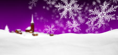 Abstract Violet Background Panorama Winter Landscape with Falling Filigree Snowflakes. Snowy Ground with Fresh Snow. Imagens - 109332594