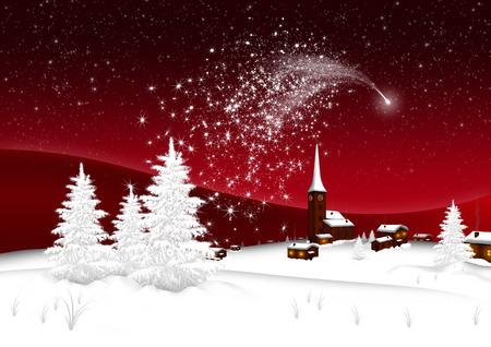 Tarjeta de felicitación con paisaje nevado, pueblo de montaña y estrella fugaz abstracta. Foto de archivo