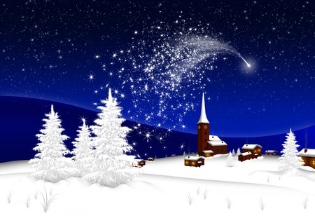 Greeting Card - Merry Christmas and Happy New Year - Village - Abstract Shooting Star