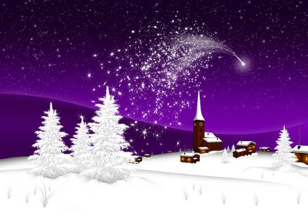 Tarjeta de felicitación - Feliz Navidad y próspero año nuevo - Pueblo - Estrella fugaz abstracta