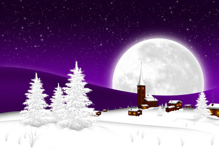 Christmas Card - Snowy Mountain Village with Big Full Moon and Starry Sky Background. Seasonal X-Mas Greeting Card Template for Wishes.