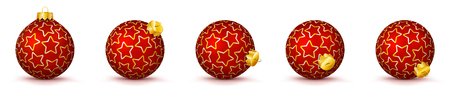 Red Vector Christmas Balls Collection with Starlet Texture - Panorama Bauble Set - Star Pattern - X-Mas Decorations - Each Ball is in Extra Vector Layer, Cleanly Separated - Christmas Tree Decor.